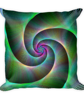 Multicolored Striped Spiral Loop Square Pillow