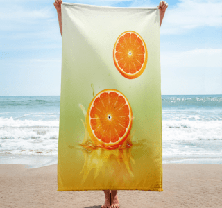 orange drop on juice splash towel