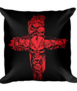 Red Skulls Cross Square Pillow