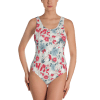 Sexy Eastern Floral Ornament on White Print One Piece Swimsuit - Women's Beachwear Bathing Suit