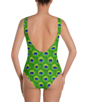 Shiny Peacock Feather Print One-Piece Swimsuit - Ladies' Classic Beachwear Bathing Suit