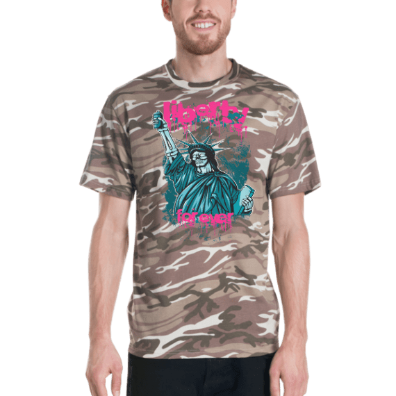 statue of liberty short sleeved camouflage t-shirt - liberty for ever Camo T-shirt