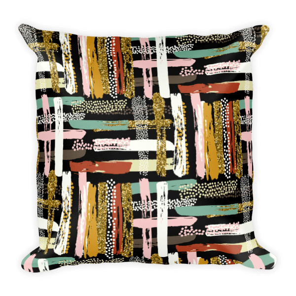 Striped Glitter Texture Pattern Square Pillow