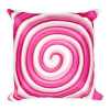 Sweet Pink and White Round Lollipop Candy Square Pillow