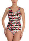 Watermelon Slices on Black and White Stripes One-Piece Swimsuit - Women's Hot Summer Beachwear Bathing Suit