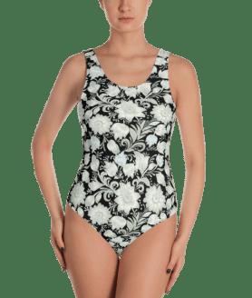 White Flowers on Black Print One-Piece Swimsuit - Women's Beachwear Bathing Suit