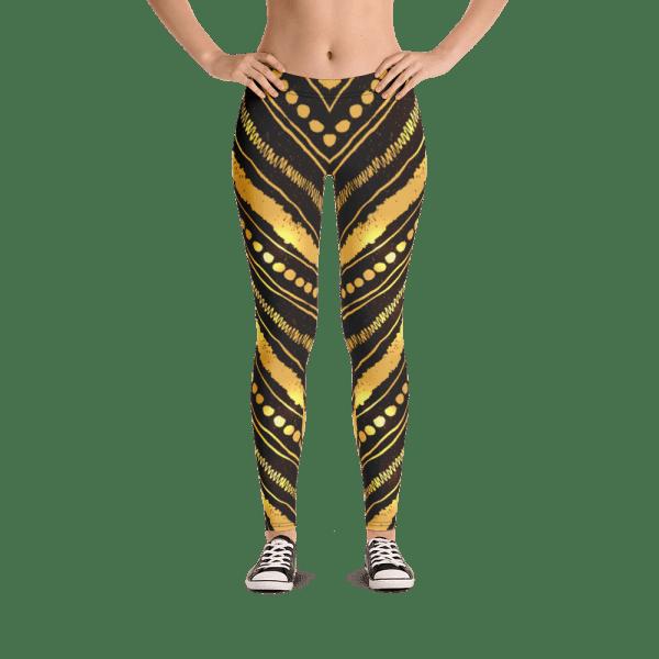 Vibrant Gold and Black Stripes Leggings - Bright Golden Striped Yoga Pants
