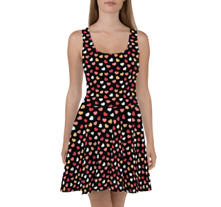 Colorful Candy Hearts Skater Dress