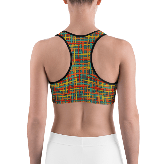 Colorful Stripes and Lines Workout Sports Bra