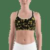 Golden Floral Gym Workout Sports Bra