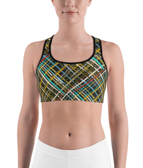 Hot Striped Pattern Gym Workout Sports Bra