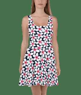 Hot Summer White Tropical Hibiscus Flowers Skater Dress