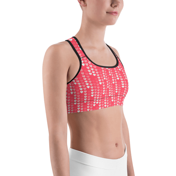 Queen Of Hearts Hot Pink Gym Workout Sports Bra