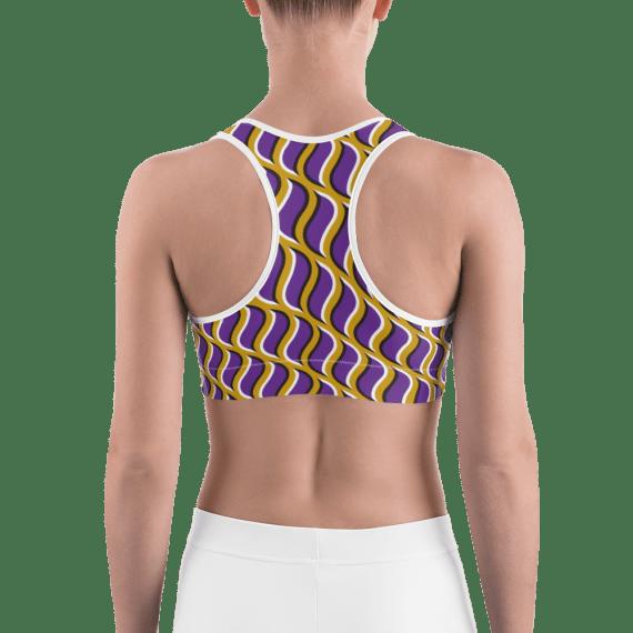 Seamless Geometric Purple and Golden Pattern Sports Bra