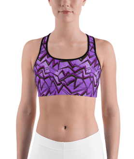 Shiny Neon Purple Graffiti Sports Bra