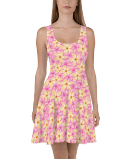 Stunning Pink and Orange Summer Tropical Flowers Print Skater Dress