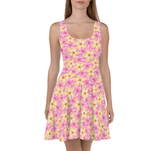 Stunning Pink and Orange Summer Tropical Flowers Print Skater Dress