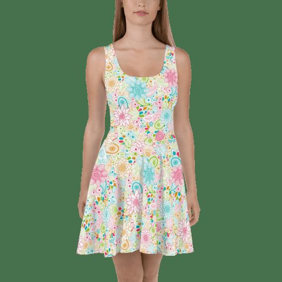 Stunning Shiny Multi Colored Tropical Flowers Print Skater Dress