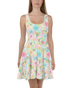 Stunning Shiny Multi Colored Tropical Flowers Print Skater Dress