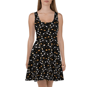 Stunning Star on Black Print Skater Dress