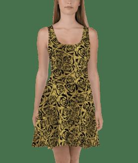 Trendy Hot Summer Golden Flowers Skater Dress
