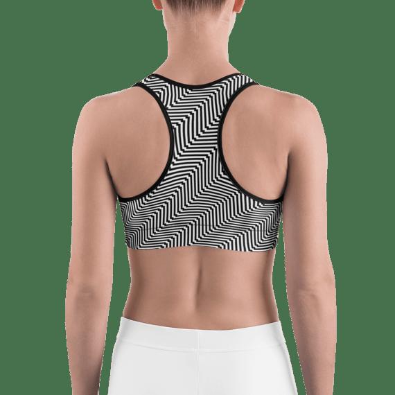 White and Black Zigzag Gym Workout Sports Bra