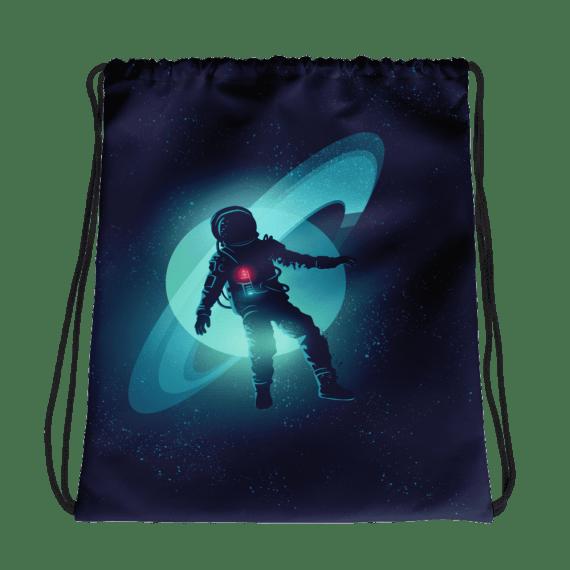 An Astronaut Floating through Space Drawstring bag