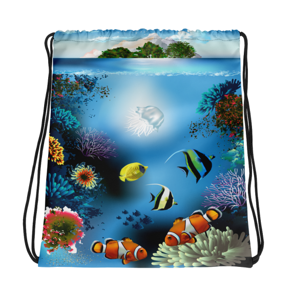Colorful Underwater World Blue | Drawstring Bag - Gym, Swimming and Camping Bag