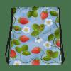 Hot Summer Red Strawberries on Light Blue Background Drawstring bag