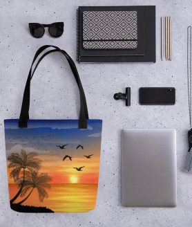 Hot Summer Tropical Landscape With Palm Trees & Birds Tote Bag