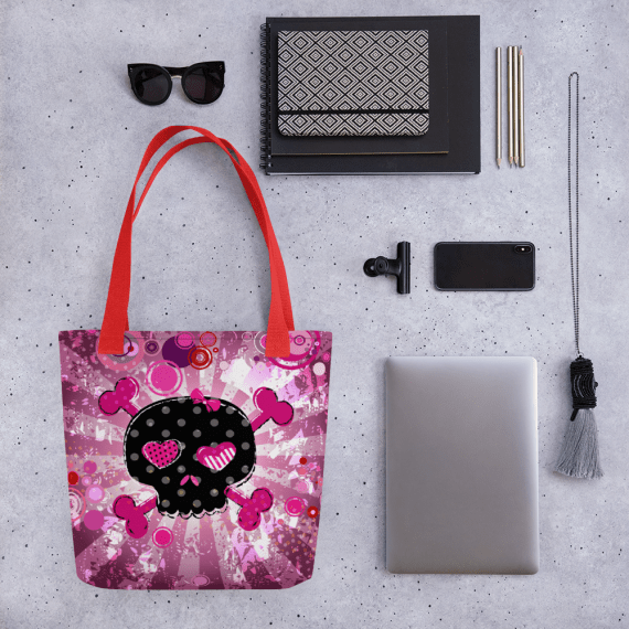 Lovable Romantic Skull on Hot Pink Tote bag