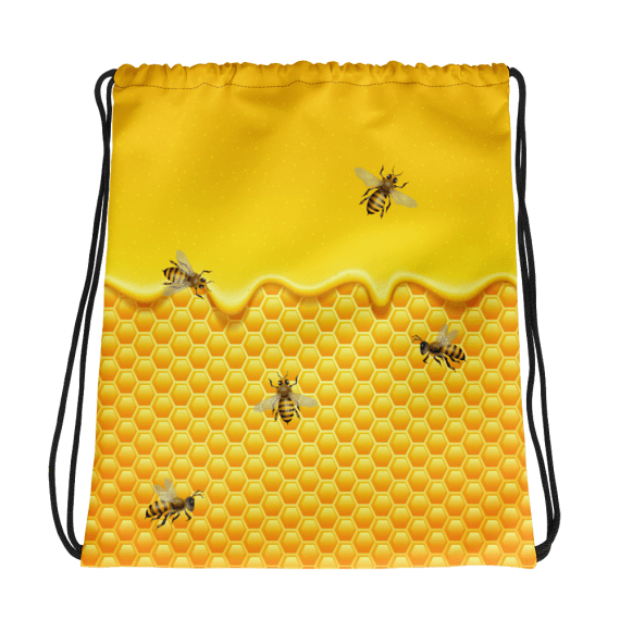 Sweet Honeycomb and Honey Drips with Bees Drawstring Bag