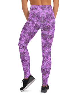 Blue and Purple Flowers Yoga Leggings - Best High Waisted Yoga Pants for Your Shape with Pockets