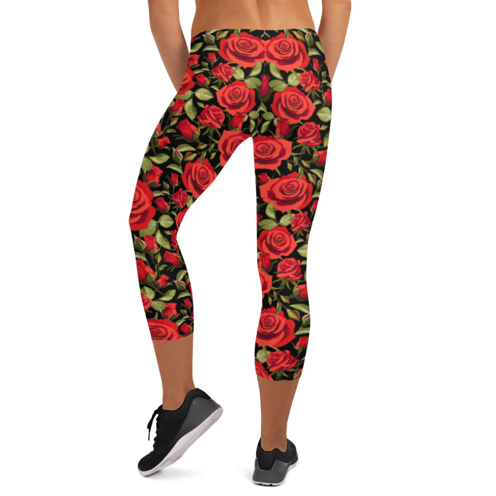 Stylesters Red Roses Capri Leggings Ultimate Yoga Leggings Yoga Pants Women Tights Printed Art Leggings Essentials Women S Standard Workout Leggings Best Women S Leggings Affordable Tights Sport Clothing What Devotion