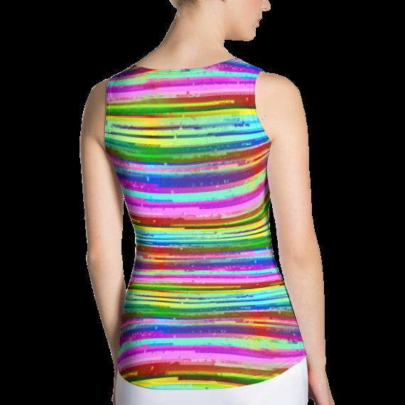 Rainbow Colored Lines Art Tank Top - Rainbow Stripes Tank Tops