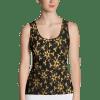 Vibrant Gold Floral Ornaments Fashion on Black Tank Top - Bright Nova Tank Tops
