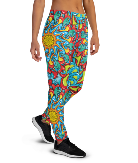 Women's Best Multicolored Psychedelic Rave Gym Workout Jogger Pants with Pockets