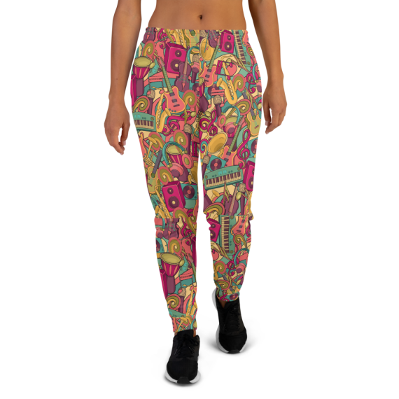 Women's Great Music Lover, Crazy Fun Party Gym Workout Jogger Pants with Pockets