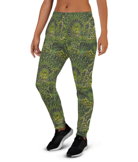 Women's Incredible Green Fish, Hearts, Flowers Workout Jogger Pants with Pockets
