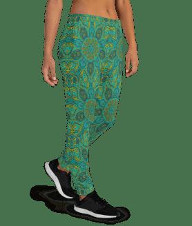 Women's Incredible Ornamental Lace Mandala Pattern Gym Jogger Pants with Pockets