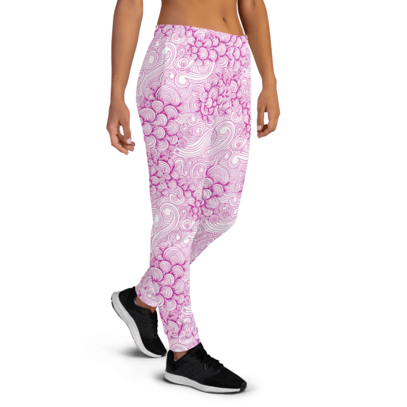 Women's Pink Waves and Shells Running Joggers with Pockets, (XS-3XL) Relaxed Fit