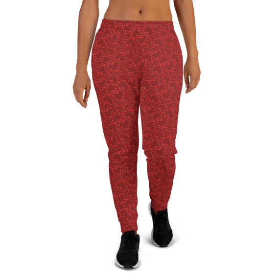 Women's Red Love Hearts Joggers with Pockets, Gym Joggers, (XS-3XL) Relaxed Fit