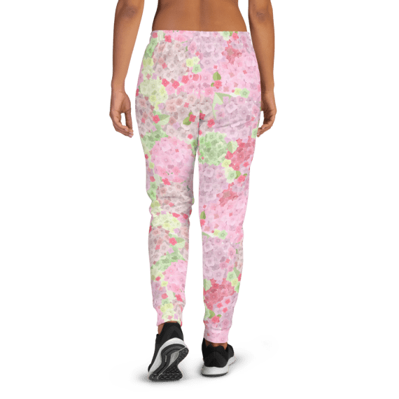 Women's Romantic Pink Hydrangea Flowers Joggers with Pockets, (XS-3XL) Cozy Fit
