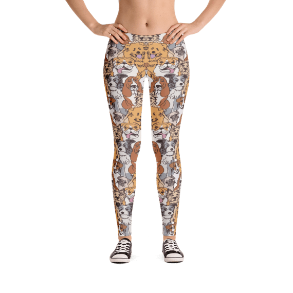 Funny Dogs and Puppies Leggings, Doggy Dogs Pants, I Want To See You Smile Pants