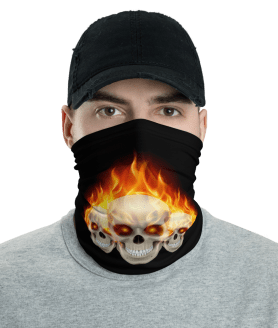 New Flaming Skulls Protective Face Mask, Bandanna, Scarf, Neck Gaiter, Headwear, Headband Hair Cover, Mouth Cover, Nose Cover, Scarves