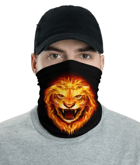 New Head of Lion in Flames - King of Fire Face Mask, Bandanna, Scarf, Neck Gaiter, Headwear, Headband Hair Cover, Mouth Cover, Nose Cover, Scarves