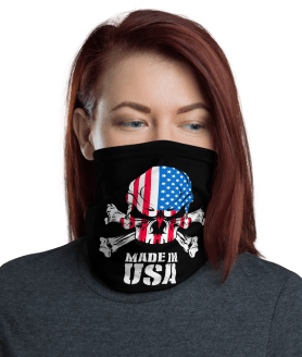 New Made in USA - American Skull and Bones Face Mask, Bandanna, Scarf, Neck Gaiter, Headwear, Headband Hair Cover, Mouth Cover, Nose Cover, Scarves