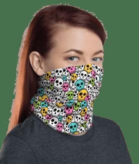 New Protective Colorful Skulls Face Mask, Neck Gaiter, Headwear , Scarf, Bandana