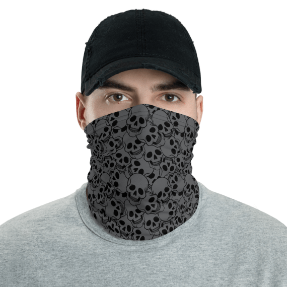 New Protective Grey Skulls Face Mask, Neck Gaiter, Headwear , Scarf-Bandana