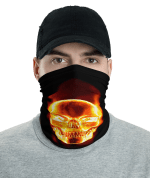 New Scary Flaming Skull Protective Face Mask, Bandanna, Scarf, Neck Gaiter, Headwear, Headband Hair Cover, Mouth Cover, Nose Cover, Scarves